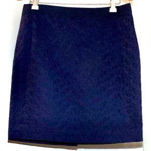 J. Crew Pencil Skirt Pinwheel Eyelet Navy Blue